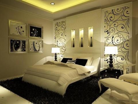 Дизайн спальни в темно-белых тонах фото