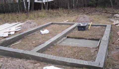 фундамент под баню из меноблоков