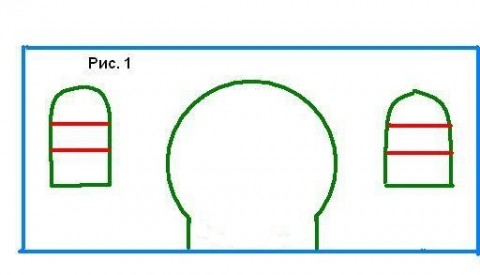 Эскиз перегородки с арочными проёмами из гипсокартона.