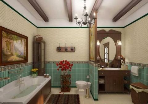 Интерьер ванной в стиле кантри фото