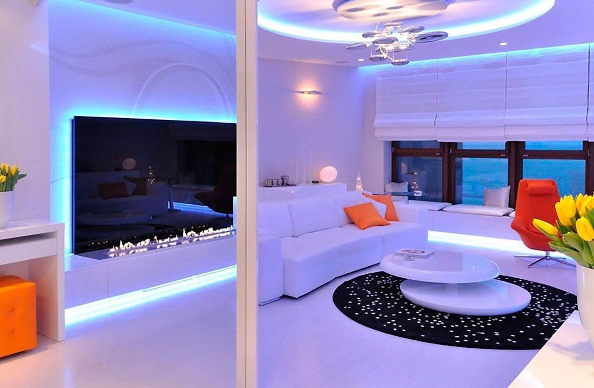 Подсветка в гостиной фото