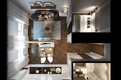 Интерьер квартиры студии и планировка фото