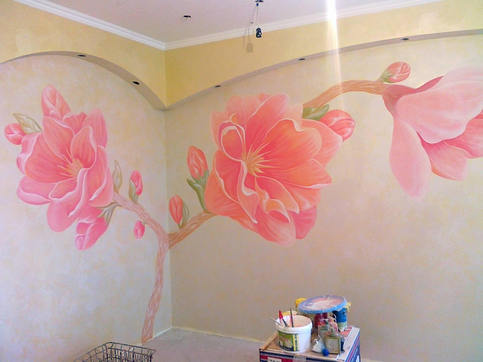 Роспись стен фото цветы