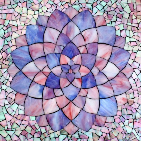 Kasia Polkowska Pink Purple Dahlia Stained Glass Mosaic FLower Art